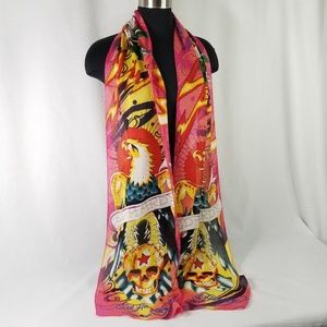 Ed Hardy Printed Graphic Long Scarf 3890